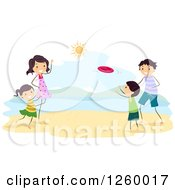 Clipart Of A Happy Family Playing Frisbee On A Beach Royalty Free Vector Illustration by BNP Design Studio