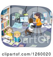 Clipart Of A Family Doing Experiments In An Office Room Royalty Free Vector Illustration