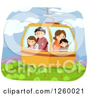 Clipart Of A Stick Family Riding In A Gondola Cable Car Over A Forest Royalty Free Vector Illustration