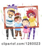 Clipart Of A Happy Stick Family With Party Accessories Posing And Holding A Frame Royalty Free Vector Illustration