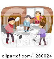 Clipart Of A Happy Family Shoveling Snow Together Royalty Free Vector Illustration