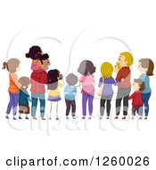 Clipart Of A Rear View Of Families Watching An Event Royalty Free Vector Illustration