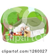 Clipart Of A Happy Family Camping Royalty Free Vector Illustration