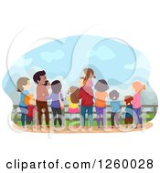 Clipart Of A Rear View Of Happy Families Enjoying A Scene Royalty Free Vector Illustration