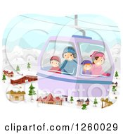 Clipart Of A Happy Family Taking A Cable Car Gondola Ride Over A Village In The Winter Royalty Free Vector Illustration