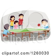 Clipart Of A Happy Family Playing A Game Of Table Tennis Royalty Free Vector Illustration by BNP Design Studio