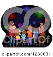 Clipart Of A Rear View Of Happy Families Watching Fireworks Royalty Free Vector Illustration by BNP Design Studio
