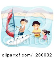 Clipart Of A Father And Children Wind Surfing Royalty Free Vector Illustration by BNP Design Studio