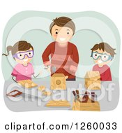 Clipart Of A Father And Children Doing Woodwork Royalty Free Vector Illustration
