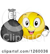 Clipart Of A Happy Emoticon Holding A Garbage Bag Royalty Free Vector Illustration