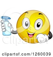 Clipart Of A Happy Emoticon Holding A Spray Bottle Royalty Free Vector Illustration by BNP Design Studio
