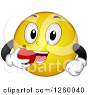 Clipart Of A Happy Emoticon Eating An Apple Royalty Free Vector Illustration