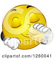 Clipart Of A Happy Emoticon Drinking A Glass Of Water Royalty Free Vector Illustration