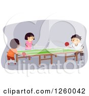 Clipart Of A Girl And Boys Playing Table Tennis Indoors Royalty Free Vector Illustration by BNP Design Studio