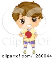 Clipart Of A Caucasian Boy Holding A Ping Pong Paddle Royalty Free Vector Illustration