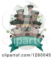 Clipart Of A Banner Under A Medieval Castle With Flags And Cannons Royalty Free Vector Illustration