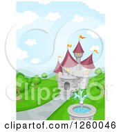 Clipart Of A Fairy Tale Castle With A Fountain Royalty Free Vector Illustration