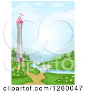 Clipart Of A Tower Over A River With Bridges Royalty Free Vector Illustration by BNP Design Studio