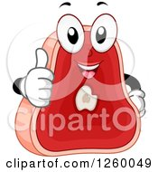Clipart Of A Steak Character Holding A Thumb Up Royalty Free Vector Illustration by BNP Design Studio