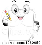 Clipart Of A Happy Paper Character Holding A Pencil Royalty Free Vector Illustration by BNP Design Studio