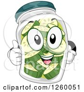 Clipart Of A Happy Pickle Jar Giving A Thumb Up Royalty Free Vector Illustration