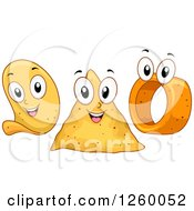 Clipart Of Happy Chip Characters Royalty Free Vector Illustration