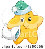Clipart Of A Cute Happy Yellow Star Holding A Pillow Royalty Free Vector Illustration