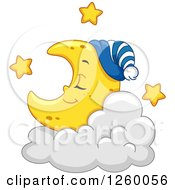 Clipart Of A Cute Crescent Moon Sleeping On A Cloud Royalty Free Vector Illustration