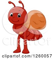 Clipart Of A Cute Red Ant Carrying A Sack Royalty Free Vector Illustration by BNP Design Studio