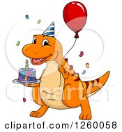 Clipart Of A Happy Birthday Dinosaur Holding A Balloon And Cake Royalty Free Vector Illustration
