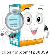 Clipart Of A Happy Box Character Holding A Magnifying Glass Over Its Nutrition Label Royalty Free Vector Illustration
