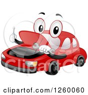 Clipart Of A Red Car Mascot Repairing Its Own Engine Royalty Free Vector Illustration