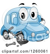 Clipart Of A Blue Car Character Holding A Wrench Royalty Free Vector Illustration