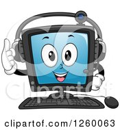 Clipart Of A Happy Computer Character Wearing A Headset Royalty Free Vector Illustration