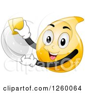 Clipart Of A Happy Dishwashing Liquid Droplet Washing A Plate Royalty Free Vector Illustration