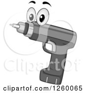 Clipart Of A Gray Electric Drill Character Royalty Free Vector Illustration