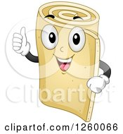 Clipart Of A Roll Of Foam Character Giving A Thumb Up Royalty Free Vector Illustration