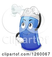 Blue Insecticide Spray Bottle Character Attacking An Insect