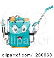 Clipart Of A Happy Knap Sack Sprayer Royalty Free Vector Illustration