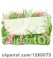 Clipart Of A Blanks Sign In A Patch Of Pink Flowers Royalty Free Vector Illustration
