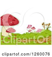 Clipart Of A Border Of Red Mushrooms Royalty Free Vector Illustration by BNP Design Studio