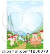 Clipart Of A Waterfall And River At A Mushroom Village Royalty Free Vector Illustration