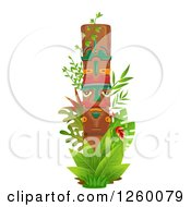Clipart Of A Totem Pole With Jungle Plants Royalty Free Vector Illustration