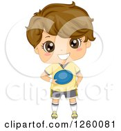 Clipart Of A Brunette Caucasian Boy Holding A Frisbee Royalty Free Vector Illustration