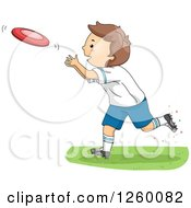Clipart Of A Caucasian Boy Playing Frisbee Royalty Free Vector Illustration by BNP Design Studio