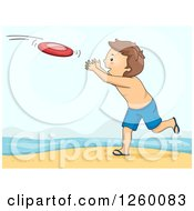 Clipart Of A Caucasian Boy Playing Frisbee On A Beach Royalty Free Vector Illustration by BNP Design Studio
