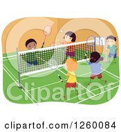 Clipart Of Happy Children Playing Badminton On An Indoor Court Royalty Free Vector Illustration