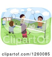 Clipart Of Happy Children Playing Badminton On An Outdoor Court Royalty Free Vector Illustration