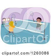 Clipart Of Boys Playing Badminton On An Indoor Court Royalty Free Vector Illustration