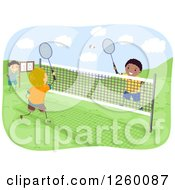 Clipart Of Boys Playing Badminton On An Outdoor Court Royalty Free Vector Illustration